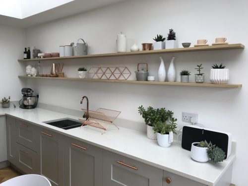 floating shelves in the kitchen